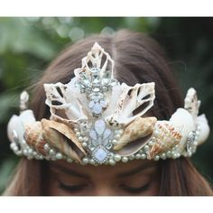 elegant mermaid crown ($75) ❤ liked on Polyvore featuring home, home decor, handmade home decor and mermaid home decor