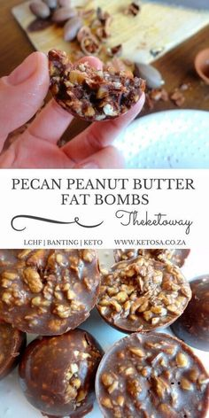 PECAN PEANUT BUTTER FAT BOMBS 1 cup of chopped pecan nuts 2 tablespoons melted coconut oil 1 tablespoon melted butter 1 tablespoon sugar free peanut butter 1 tablespoon cocoa powder a pinch of stevia powder The Keto way Keto Desserts, Keto Snacks, Dessert Recipes, Paleo Dessert, Recipes Dinner, Snacks Kids, Quick Dessert, Keto Fat, Low Carb Keto
