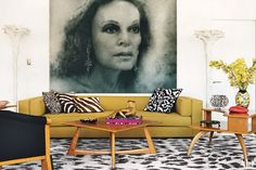 A Zhang Huan portrait of Diane von Furstenberg hangs in the living room of her Manhattan penthouse. The fashion designer created the leopard-spot carpeting for the Rug Company. The armchair is by Michael Graves. Penthouse Photos, Manhattan Penthouse, Architectural Digest, Diane Von Furstenberg, Apartments New York, York Apartment, Seattle Apartment, Penthouse Apartment, Cocktails Vintage