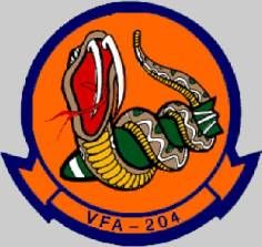 vfa-204 river rattlers crest insignia patch badge strike fighter squadron f/a-18 hornet nas/jrb new orleans