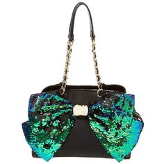 Betsey Johnson Bow-Lesque Sequin Satchel Handbag ($128) ❤ liked on Polyvore featuring bags, handbags, turquoise, turquoise handbags, handbag satchel, white satchel handbags, striped handbag and bow purse