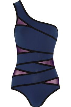 Karla Colletto Outlines One Shoulder Mesh Paneled Swimsuit