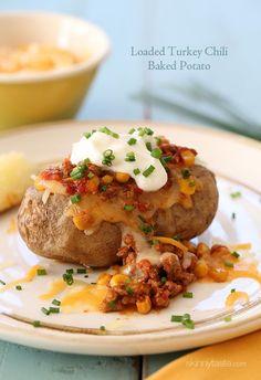 Loaded Turkey Chili Baked Potato | Skinnytaste