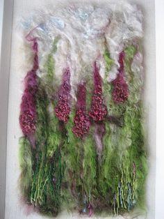 Foxgloves wool and silk embellished felt picture | embellish… | Flickr - Photo Sharing!