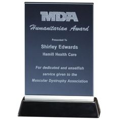 Our Rectangle Smoked Glass Award features a smoked glass engraving area on a black base. is x and is x Bot h include free personalized laser engraving. Glass Awards, Glass Plaques, Glass Picture Frames, Muscular Dystrophies, Glass Engraving, Cards Against Humanity, Smoke, Base, Glass Photo Frames