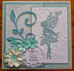 Handcrafted by Helen: Two Tattered Lace Fairy Cards - Geprägte karten Girl Birthday Cards, Handmade Birthday Cards, Greeting Cards Handmade, Sister Birthday, Birthday Gifts, Cat Cards, Kids Cards, Aliexpress Dies Cards, Pinterest Birthday Cards