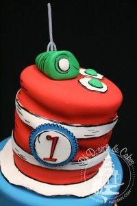 The cake topper = Green Eggs & Ham and The Cat in the Hat