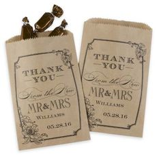 Buy Personalized Vintage Floral Treat Bags - Kraft (Package of and other party favors and personalized gifts. Best Wedding Favors, Rustic Wedding Favors, Wedding Welcome Bags, Wedding Favor Bags, Personalized Wedding Favors, Wedding Candy, Personalized Gifts, Wedding Ideas, Craft Wedding