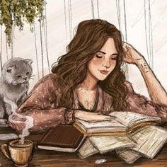 Drawing girl reading book ideas for 2019 Art And Illustration, Lovely Girl Names, Reading Art, Woman Reading, Reading Books, Girl Reading Book, Reading Lists, Cat Art, Art Girl