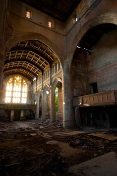 Abandoned City Methodist Church in Detroit, Gary, Indiana. It opened in 1925, as part of a complex that included an education building, a theater, and a commercial retail structure. As Gary was abandoned the church membership fell from 3,000 to 150. It was closed in 1975.