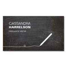 CHALKBOARD BUSINESS CARD FOR AUTHORS and WRITERS. This is a fully customizable business card and available on several paper types for your needs. You can upload your own image or use the image as is. Just click this template to get started!
