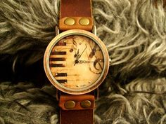 Handmade Piano Music Retro Leather Watch