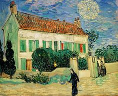 'White House at Night', 1890 - Vincent van Gogh . This painting was created on June 1890 at around PM in the small town of Auvers-sur-Oise by van Gogh, a mere six weeks before his. Renoir, Art Van, Paul Gauguin, Claude Monet, Van Gogh Arte, Van Gogh Pinturas, Vincent Willem Van Gogh, Ciel Nocturne, Kunst Online