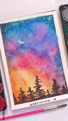 Watercolor Paintings For Beginners, Simple Canvas Paintings, Watercolor Art Lessons, Canvas Painting Tutorials, Watercolor Art Paintings, Watercolor Drawing, Galaxy Painting, Sky Painting, Art Painting Gallery