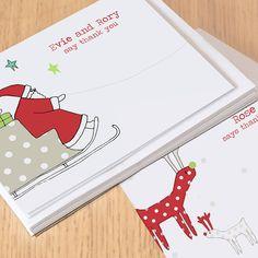 12 children's christmas thank you cards by lucy sheeran | notonthehighstreet.com