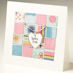 Mosaic-Style Card        Cut squares from coordinating patterned papers and lay them out in a mosaic pattern on a card front. Hang a charm from beaded thread, then loop the thread through holes in the card front.