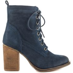 Steve Madden Women's Lauuren - Navy Nubuck (180 CAD) ❤ liked on Polyvore featuring shoes, boots, ankle booties, ankle boots, blue, lace up boots, lace up bootie, navy blue ankle boots and lace up high heel booties