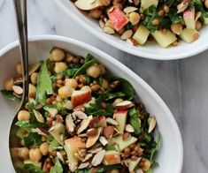Wheat Berry & Chickpea Salad with Spinach, Apples & Feta Chickpea Salad Recipes, Veggie Recipes, Dinner Recipes, Savoury Recipes, Lemon Potatoes, Roasted Potatoes, Smoked Lamb, Wheat Berry Salad, Winter Salad