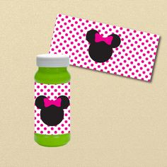 Hot Pink Minnie Mouse Party, Minnie Birthday, Printable favors, Printable Bubble Wrapper, Bubble Labels, Disney, Black and hot Pink party by MiPartyDesigns on Etsy https://www.etsy.com/listing/269893604/hot-pink-minnie-mouse-party-minnie