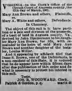 Barb's Family Stories: Matrilineal Monday: MARY ANN BROWN and Others, Pla...
