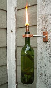 hanging glass bottle outdoor lighting | Recycled Glass Bottle or Wine Bottle Outdoor Hanging Tiki Torch Lights