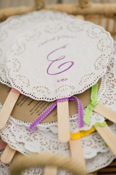 Doily Wedding Ceremony Program Fans 275x413 DIY Virginia Wedding Ceremony: Jillian + Chad