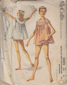 1955 Teen Babydoll Nightgown Pattern   Vintage McCall's 3502   Juniors Shortie Nightgown and Bloomers   50s Sewing Pattern   Bust 28 Nightie