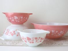 Pyrex Gooseberry Cinderella Mixing Bowls  by YourTreasureHunter, $145.00
