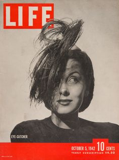 """""""Eye-Catcher, Joan Thorsen with an unusual hat"""", October 5, 1942. This is the first Life cover made by Philippe Halsman."""