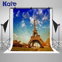 Paris Eiffel Tower Night Photography Backdrops Bule Sky White