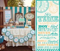 Clock themed GENDER REVEAL baby shower via Kara's Party Ideas- www.KarasPartyIdeas.com