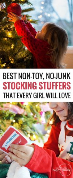 "Yes! ""Let's stop filling our kids' stockings with stuff and start filling them with simple experiences they'll remember even after they start their own families."" Love this list of unique stocking stuffers for girls...the coupon book at the end is BRILLIANT! Most of these gifts would work for boys too. Great list of gift ideas for kids of all ages! #giftsforkids #christmasgifts #holidaygifts #nontoygifts"
