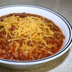 Tonights Dinner - Tailgate Chili Allrecipes.com    Love rainy day food