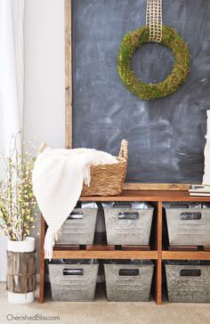 Love this Rustic Farmhouse Entryway! That bench, those bins! I want it all! @cherishedbliss