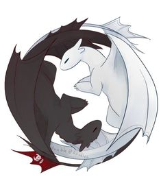 Toothless and Light Fury Ying Yang Httyd Dragons, Cute Dragons, Httyd 3, Hiccup, Princess Mononoke Poster, Toothless Dragon, Dragon Party, Dragon Rider, Night Fury
