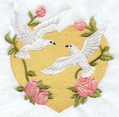 LOVE DOVES w/HEART  Machine Embroidery Quilt by AzEmbroideryBarn, $24.95