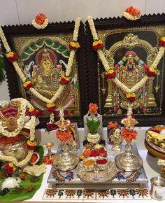 Varalakshmi Vratham 2019 honours the most popular Goddess Maha Lakshmi. Varalakshmi Puja or homam on this day means abundant wealth is sure to come your way. Housewarming Decorations, Diy Diwali Decorations, Festival Decorations, Flower Decorations, Pooja Room Door Design, Home Room Design, Mandir Decoration, Temple Room, Silver Pooja Items