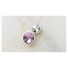 Dupla  Light Amethyst  Silver Shade #Copella #pingente #colar #prata #Swarovski #moda