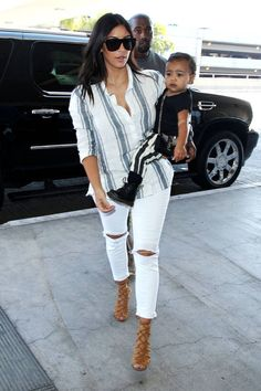 Kim Kardashian West and North Step Out in Doc Martens