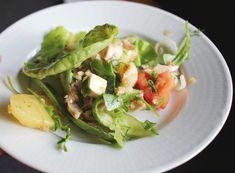 Salad with home grown vegetables Home Grown Vegetables, Growing Vegetables, Cheese Potatoes, Lettuce Leaves, Roasted Garlic, Arugula, Summer Salads, Grilled Chicken, Feta
