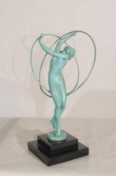 Art Deco Bronze Figurine 1920s Female Hoop Dancer