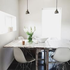 eames with rustic table