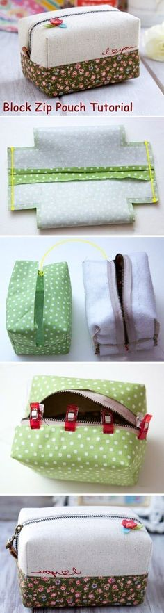 How to make this cute block zip pouch. DIY Tutorial with patterns. Sewing Tutorials, Sewing Crafts, Sewing Projects, Sewing Patterns, Bag Tutorials, Purse Patterns, Sewing Ideas, Sewing Box, Diy Crafts