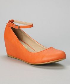Another great find on #zulily! Orange Bobby Ankle-Strap Wedge #zulilyfinds