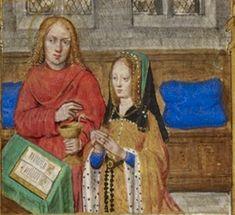 Joanna of Castile praying, accompanied by John the Evangelist, Hours of Joanna of Castile, Bruges