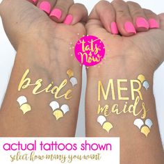 Make your mermaid dreams come true! We are just as obsessed with being a mermaid and have created some under the sea sparkle for your bachelorette party. So fun to add to your nautical or beach themed bach party.  Enjoy our high quality gold and silver temporary tattoos  We are here to offer you on your special day premium tattoos backed with stellar customer service (we have over 1,800 - 5 STAR REVIEWS)  =================  TO ORDER:  SIMPLY Select how many you want using the drop box and…