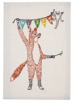 """Fox gets a little help saying """"MERCI"""" from his flying squirrel friend, who is usually perched on the twig when he is not being so useful. Designed to be sent to your near and dear for special occassio"""