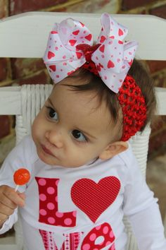 Items similar to Valentines Day Bow and headband --- double white satin with glitter heart center on red headband --- XOXO on Etsy Baby Girl Valentine Outfit, Valentines Outfits, Be My Valentine, Red Headband, All American Girl, Glitter Hearts, White Satin, Reborn Babies, Baby Fever