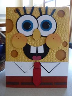Spongebob Punch Art by JennyConradRN – Cards and Paper Crafts at Splitcoaststampers - kids cards Paper Punch Art, Punch Art Cards, Birthday Cards For Boys, Funny Birthday Cards, Diy Birthday, 15th Birthday, Arte Punch, Shaped Cards, Kids Cards