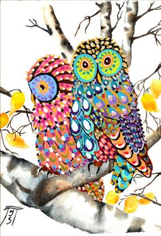 Mr & Mrs Owls by aquarelle788